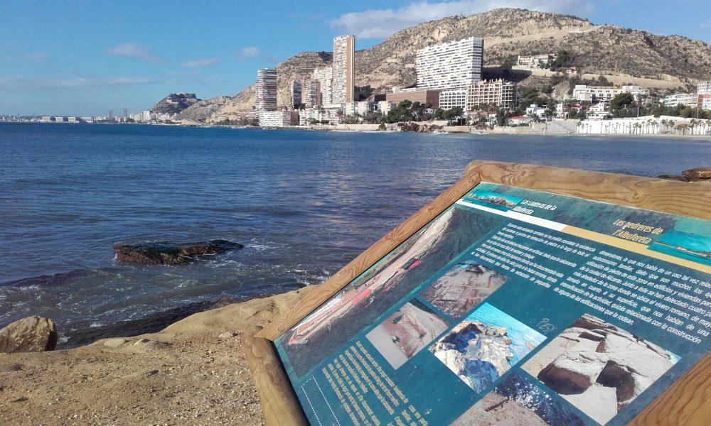 Inicio del recorrido junto a la Playa de la Albufereta (Alicante, 2016)